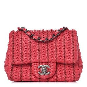 CHANEL Bags - Chanel Lambskin Crochet Embroidered Small Flap Red